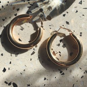 NEW Gold Chunky Hollow Hoops